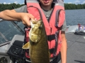 Steve's grandson, Conner, with a big smallmouth bass.