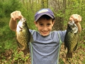 Steve's grandson, Conner, with a couple of 12-inch crappies.