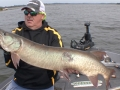 This musky jumped out of the water at mid-retrieve but didn't hit Steve's bait until the figure-8.